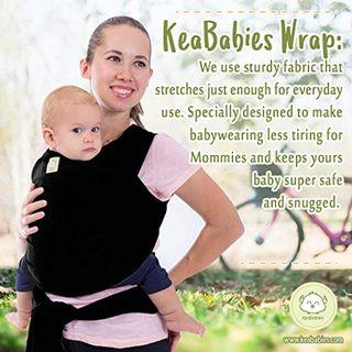 KeaBabies Baby Wrap Carrier by KeaBabies - All-in-1 Stretchy Baby Wraps - 3 Colors - Baby Sling - Infant Carrier - Hands-Free Babies Carrier Wraps   Great Baby Shower, Trendy Black Baby Carrier