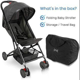 Jovial Portable Folding Lightweight Baby Stroller - Smallest Foldable Compact Stroller Airplane Travel, Compact Storage, 5-Point Safety, Easy 1 Hand Fold, Canopy Sun Shade, Storage Bag Baby Stroller