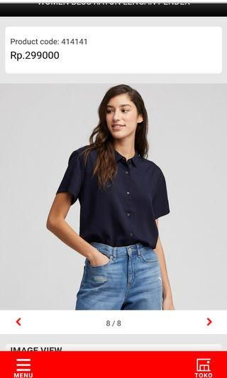 Uniqlo blus rayon lengan pendek navy