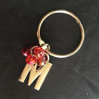 M with red beads keychain