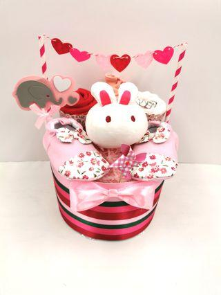 Diaper Cake PINK Rabbit Baby Girl Hamper