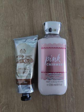 Bath and Body Works Pink Cashmere Body Lotion dan Body Shop Almond Manicure and Hand Cream
