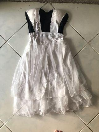 Dress kemben putih hitam