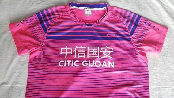 LI-NING AAYM029 LIN DAN BEIJING TEAM 2017 CHINESE GAMES Pink Men's Shirt XXL