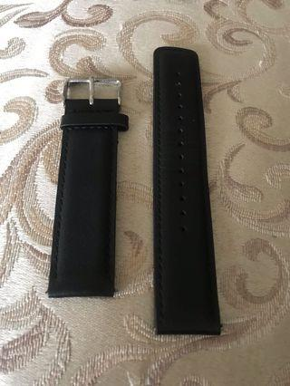 Black leather band 22mm