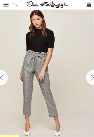 Checkered paper bag pants