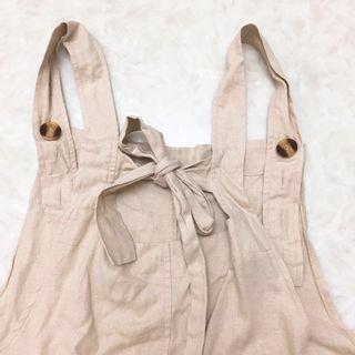 🚚 50% 米白色休閒感吊帶褲
