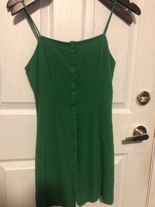 Green button down dress