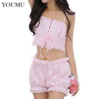 Lolita Camisole Shorts Set Japanese Cute Pajama Set Cotton Lace Sleepwear