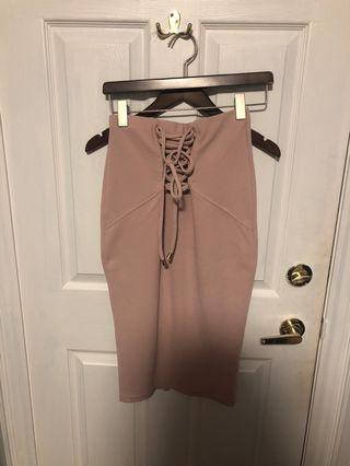 Long pink lace up skirt