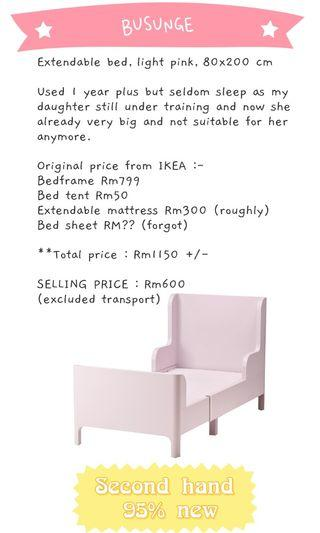 IKEA BUSUNGE Extendable Bed (pink princess)