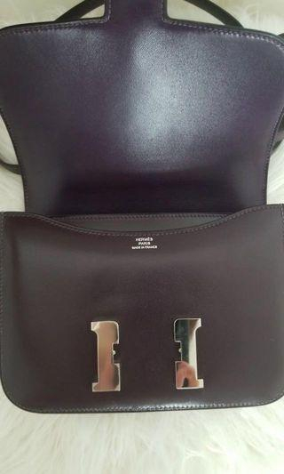 Hermes Constance, black Epson leather and silver hardware
