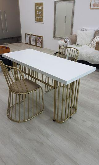 White Wooden Table with Golden Legs
