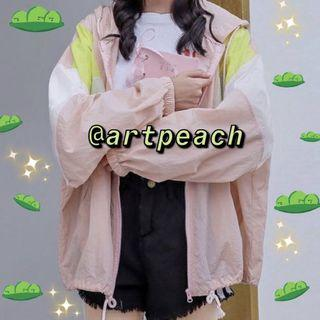 Pastel pink and green windbreaker
