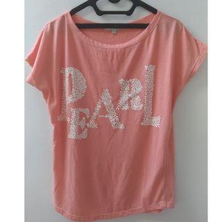 Details t shirt peach