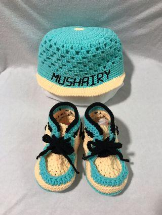 Crochet Personalised Baby Hat and Shoes Set