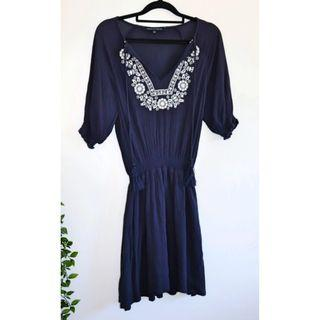 French Connection Navy & White embroidered dress - Size 6 XS