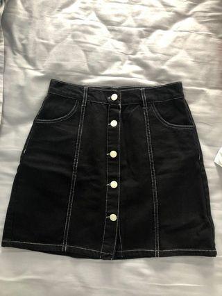 Bershka Black Denim A-Line Skirt