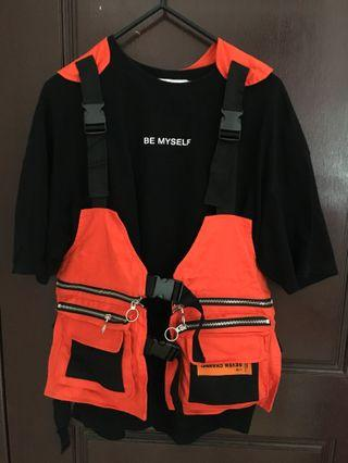 橘色工裝背心超好看(不含內搭的黑t恤)只有一件均碼