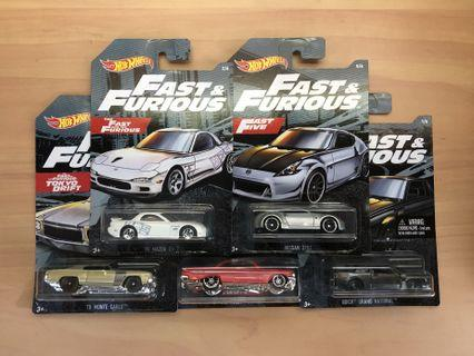 Hot Wheels Fast and Furious Set of 5