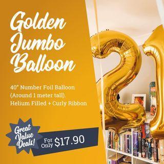 Golden Jumbo 40 Inch Foil Number Helium Balloon