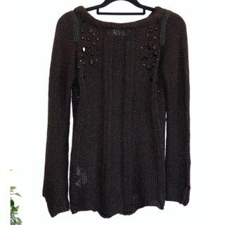 Zara Black Embellished chunky knit jumper sweater - Size M 10