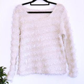 Cream Fluffy knit jumper sweater - Size 10 M