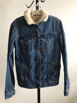 Top shop moto denim faux fur jacket