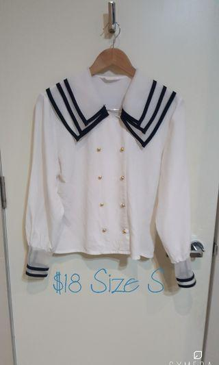 """""""FaiWong"""" Vintage Sailor Shirt with Cuffed Sleeves (Size S)"""