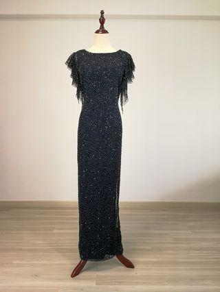 Adrianna Papell Embellished Flutter-sleeves Evening gown (Rental)