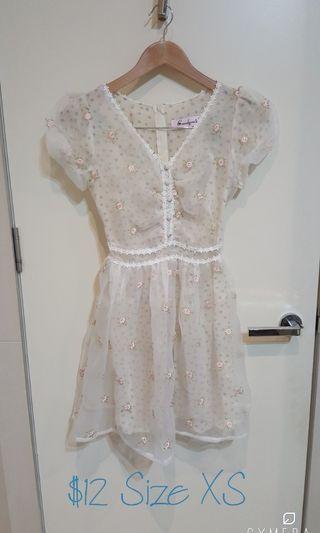 """Candyrain"" Japanese Brand Floral Sheer Layered Short Sleeve Girly Dress (Size XXS-XS)"