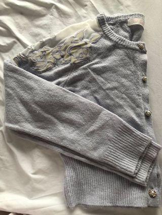 Japan Liz Lisa ice blue mesh rose print cardigan