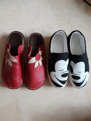 🐻 black white Mickey mouse & red sunflower sneaker