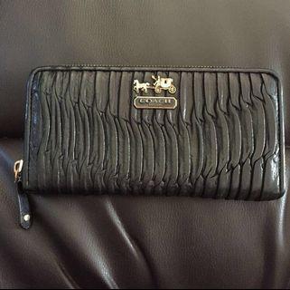 COACH Matelasse Black Leather Continental Long Wallet