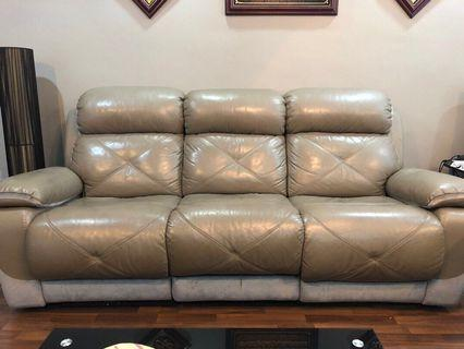 🚚 3 Seater Half Leather Sofa