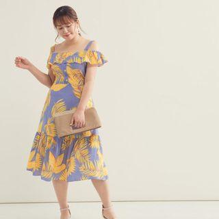 BRAND NEW! UK20 / 4XL Plus Size Leaves Print Ruffle Fishtail Dress