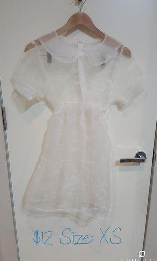 Unique Sheer White Overlay Dress (Size XS)