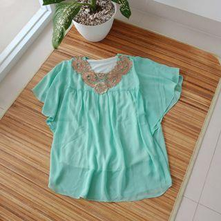 Blouse kaftan aqua green