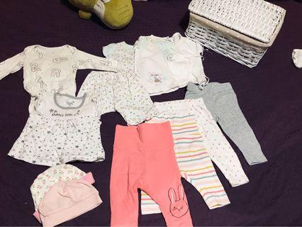 Baby Girl Clothes bundle with basket