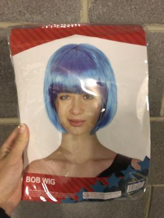 Blue hair bob wig
