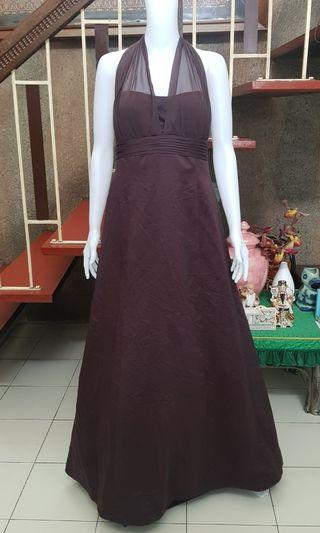 ids Bridal Satin Brown Empire Cut Gown size 14 XL