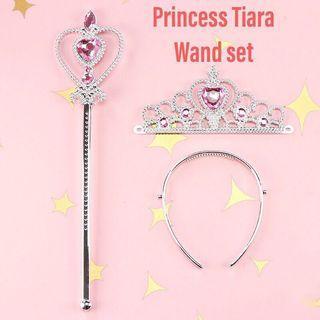 Princess Crown Tiara and Wand Set
