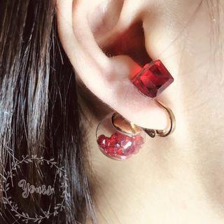 🚚 紅寶石大力丸  耳夾 夾式耳環 五成新