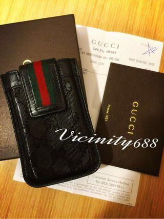 🚚 近全新 正品 GUCCI 500系列 限量特別款 亮黑 Imprime 手機套 菸盒
