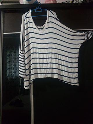 Batwing stripes korean loose top