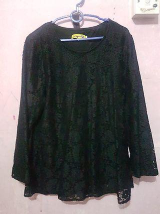 Black blouse lace with lining muslimah top