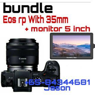 Bundle Eos rp with rf 35mm macro and feelworld 5 inch monitor