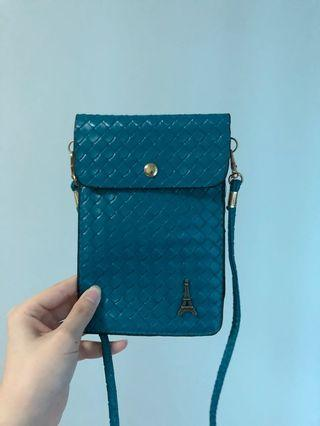 Turquoise Faux Leather Slingbag