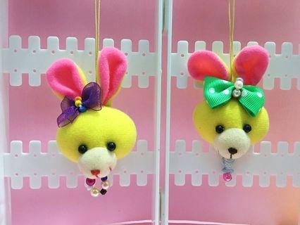 🚚 手作娃娃頭部吊飾 — 蝴蝶結兔子