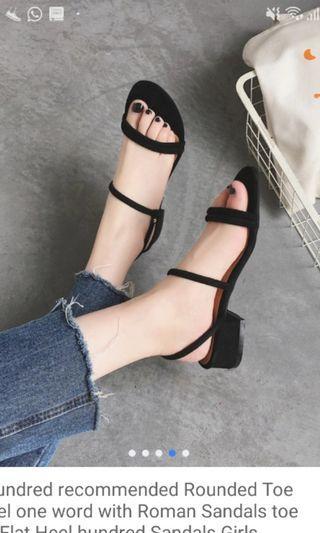 BN Ladies Black Strappy Sandals (Size 38)
